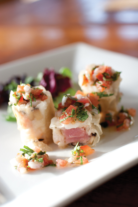 Ahi and Shrimp Roll with Lemon Butter Sauce