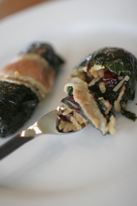 Rice Paupiettes - Rolled Swiss chard leaves with tasty rice and dried berries