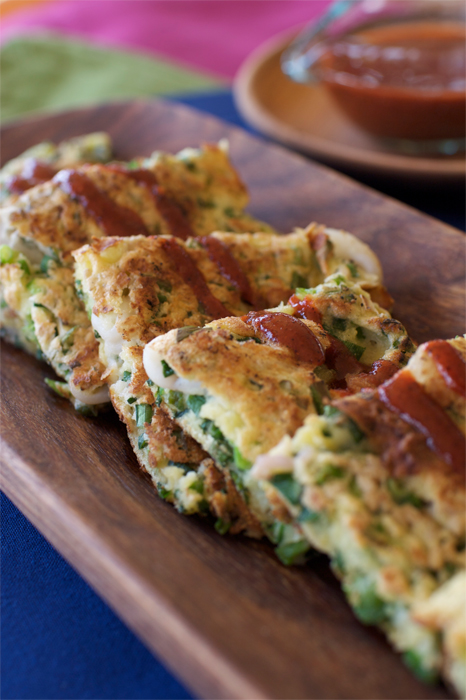 Green Onion Chijimi - Korean style pancakes with green onions and seafood.