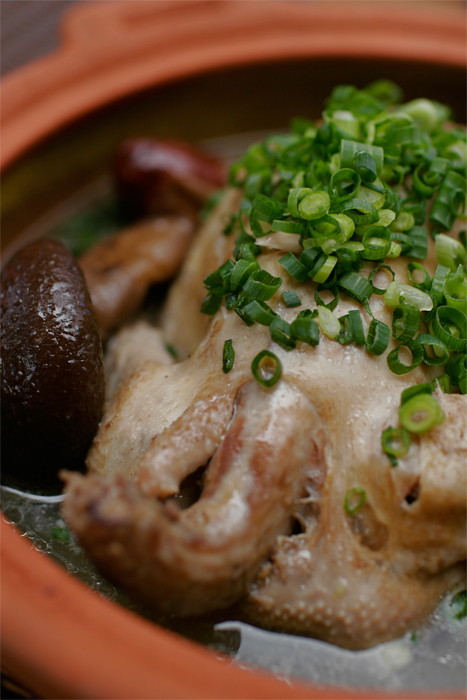 Samgyetang - Whole Cornish hen stuffed with sticky rice, ginseng and Korean herb mix broth