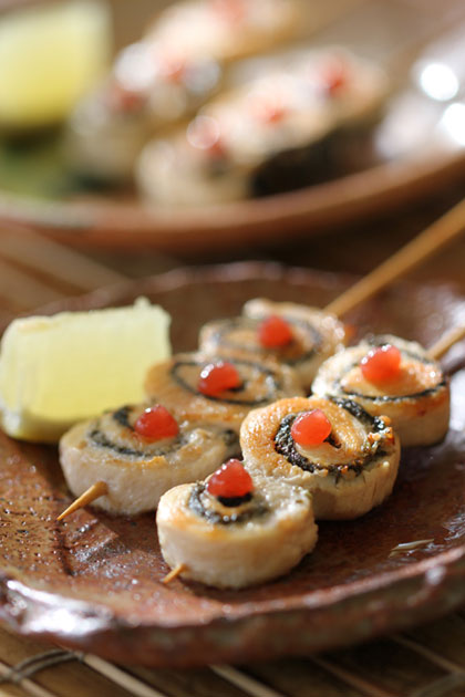Chicken Nori Roll - Chicken breast rolls with Nori, served with Ume (sour plum) sauce