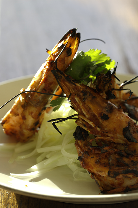 Kimchi Sauce Marinaded Kauai Shrimp with Green Papaya Salad