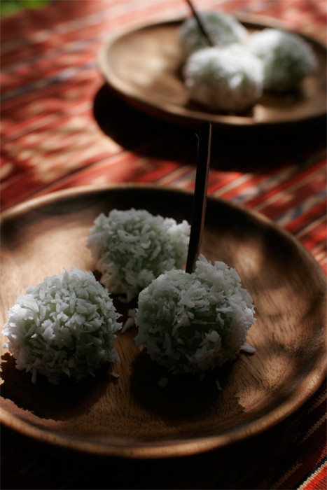 Klepon - Traditional Bali style sweet with coconut, rice flour, pandanus leaves and palm sugar