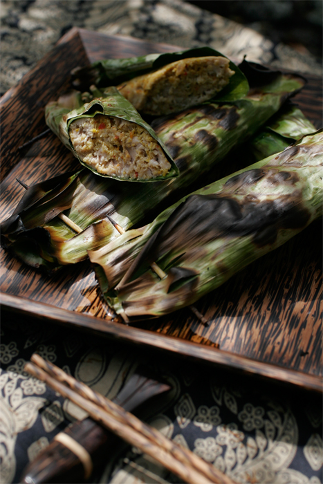 Pesan be Pasih - Fresh Ahi with Sambal Base Genep wrapped with banana leaves and charcoal grilled.