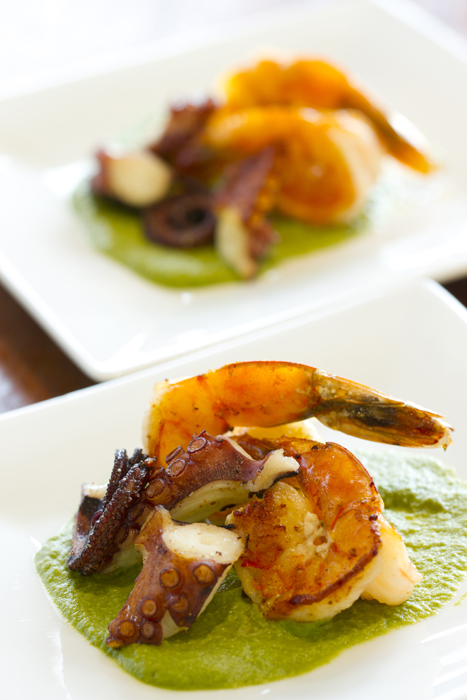 Tako And Shrimp with Parsley sauce